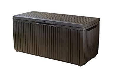 Keter 123 x 53.5 x 57 cm Springwood Outdoor Plastic Storage Box Garden Furniture - Brown - cheap UK light shop.