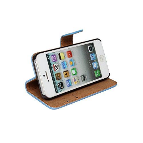 Trumpshop Smartphone Case Coque Housse Etui de Protection pour Apple iPhone 5/5s/SE + Orange + Ultra Mince Smartphonecoque Portefeuille Cuir Véritable Fonction Support Fentes de Carte Anti-Choc Marron