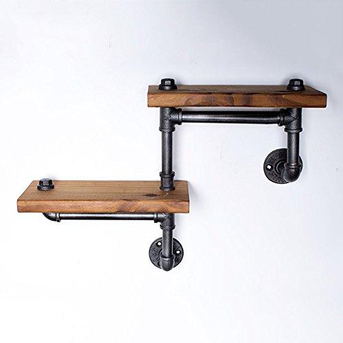 Étagère en bois à deux marches Étagère en bois Étagère à livres en étagère Vintage Étagère de cuisine Paquet de 2