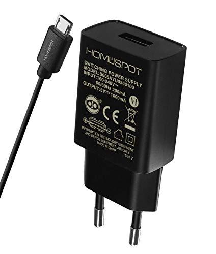 HomeSpot Ladegerät + Micro USB Kabel Value Pack kompaktes Universal USB Ladegerät /Netzteil / 5V1A mit EU Stecker mit 2 Meter USB Micro USB Kabel - Universal Tablet-ladegerät Android