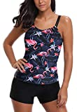 AYEEBOOY Frauen Plus Size Floral Halfter Tankini Set mit Boyshort zweiteiligen Badeanzug(7FlamingoP,EU (42-44))