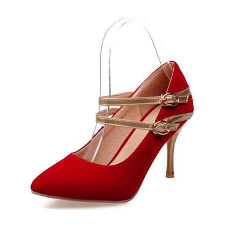 H H Frauen im Frühjahr und Herbst (rot.) Schwarz. (blau) Doppel-Schnalle Sanding mit High Heels Wear-resistent Non-Slip , red , 40 (Sandale Doppel Leder Schnalle)