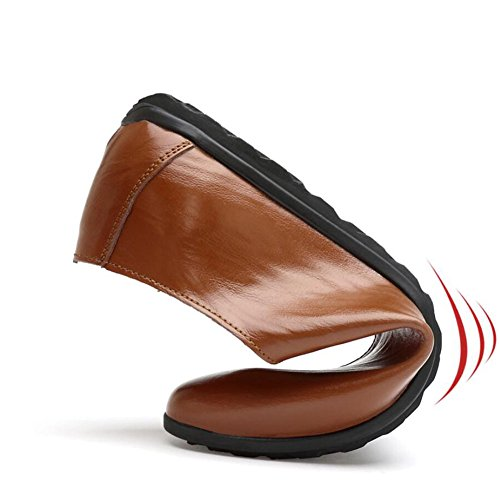 HUAN Hommes Chaussures Décontractées Mocassins Plat Cuir Mode Robe Chaussures Marche Chaussures brown