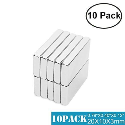 Rechteckig Starke Neodym Magnete, 10 Pcs N42 magnete für magnettafel, Stark Seltene Erden Magnete kühlschrank magnete - 20mmX10mmX3mm (10PCS) (Magnet Erde)