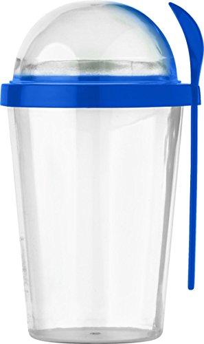 Unbekannt Müslibecher to go 450ml Müsli to go Becher Deckel 150ml Farbwahl Joghurtbecher (Blau)