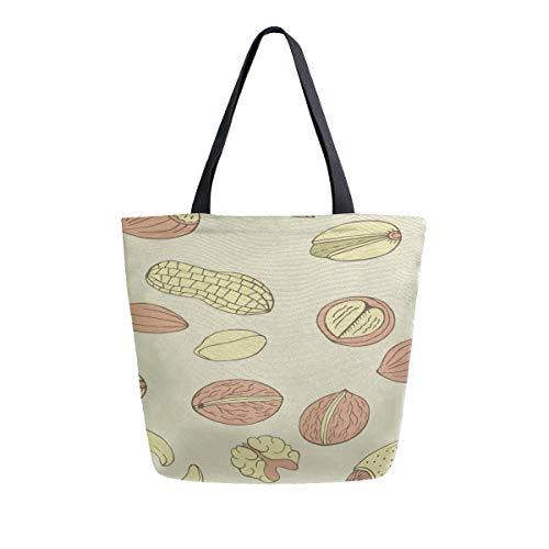 Peanut Little Beans Daily Food Tragbare Große Doppelseitige Lässige Canvas Tragetaschen Handtasche Schulter Wiederverwendbare Einkaufstaschen Duffel Geldbörse Frauen Männer Lebensmittelgeschäft Reise - Pistazien-cashew