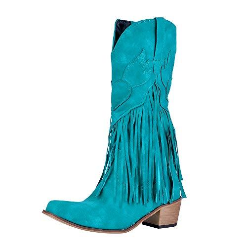 Puimentiua Botas de Tacón para Mujer Botines Bohemia Zapatos Vaquero con Flecos de Otoño Invierno