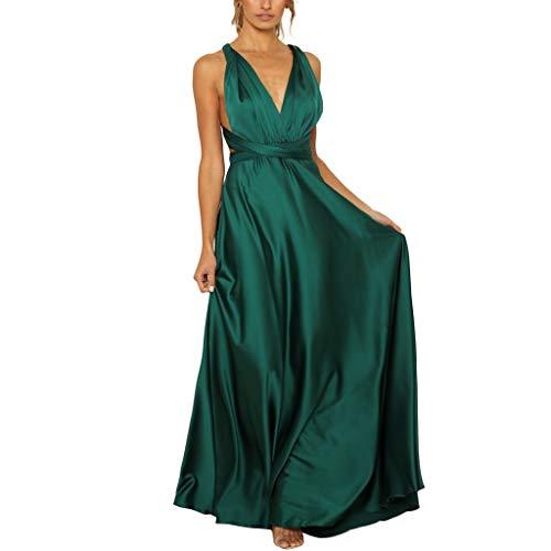 URIBAKY Damen Ballkleid Elegant Abendkleid Lang Ärmellos Perlenstickerei Abschlusskleid Sommerkleid Zurück öffnen