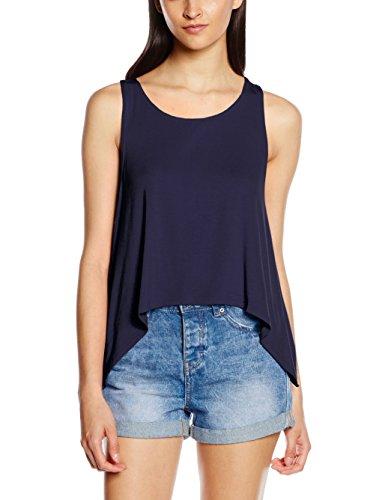 ONLY Damen Onlmiley S/L Pleat Top Ess, Blau (Night Sky), 40 (Herstellergröße: L) (Jersey Draped Top)