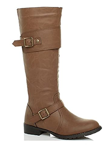 WOMENS LADIES LOW HEEL STRETCH CALF ZIP BUCKLE STRAP RIDING BOOTS SIZE 5 38