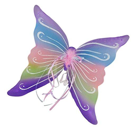 FITYLE Glitzer Elfen Engel Flügel Karneval Kostüm schmetterlingsflüge Faschingskostüme Butterfly Wing Elfenflügel Feenflügel für Kinder Mädchen - Mehrfarbig, 43 x 46 cm (Kostüm Engel Kleiner)