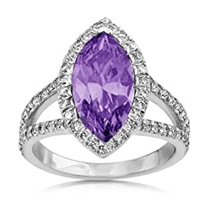 amazon com wedding rings 4 26ct marquise cut amethyst amp vs engagement ring 1281