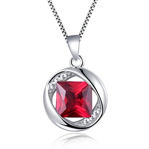 Juvée Damen-Halskette Prometheus, 925 Sterling Silber & Rhodium plattiert, Zirkonia Rot, H-004-C