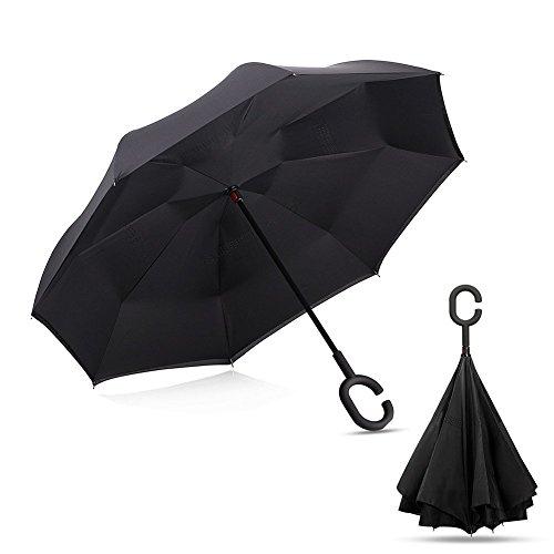 Ombrello a forma di C mani Maniglia Antivento inversione pieghevole a doppio strato invertito ombrello doppio ombrello inversione e Self Standing Inside Out parapioggia ombrello (Black)