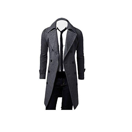 LuckyGirls Trench-Coat des Hommes d'hiver, Parka Longue Veste élégante à Double Boutonnage (Gris, XXL)