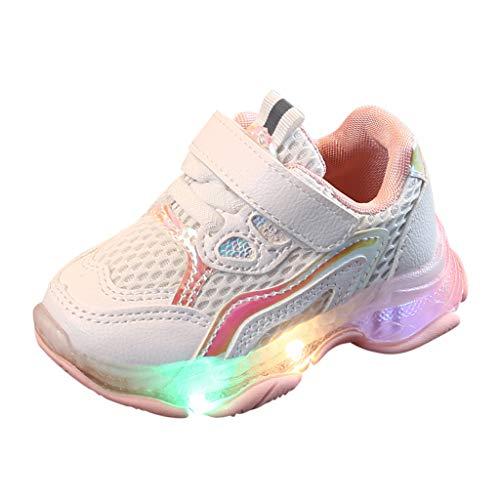 Diath Unisex Baby Kinder LED Atmungsaktiv Sportschuhe, Atmungsaktiv Jungen Mädchen Geschlossen Sandalen Kinder Sommer Outdoor rutschfeste Neugeborene Hausschuhe Mode Strand Leichte (28.5, Pink) - Zucker Damen Stiefel