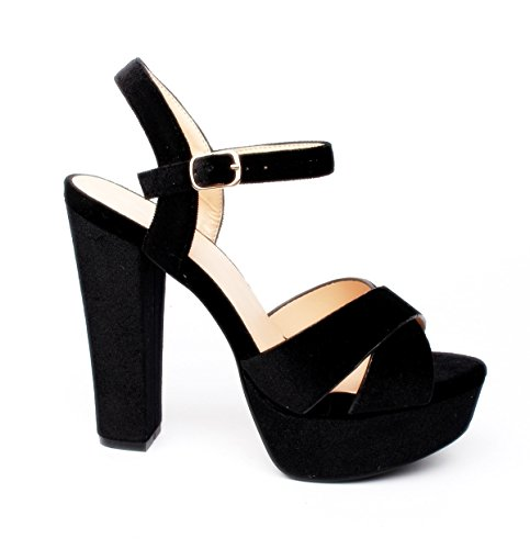 King Of Shoes Klassische Trendige Damen Mary Jane Riemchen Pumps Stilettos Party High Heels Plateau Schuhe Bequem 18 (39, Schwarz 07)