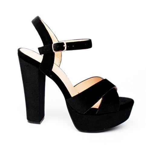 King Of Shoes Klassische Trendige Damen Mary Jane Riemchen Pumps Stilettos Party High Heels Plateau Schuhe Bequem 18 (37, Schwarz 07)