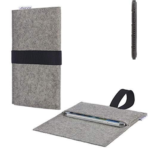 flat.design Handy Hülle Aveiro für Cyrus CS 35 passgenau Handytasche Filz Tasche fair schwarz hellgrau