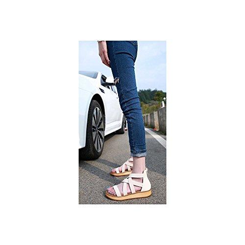 OCHENTA Damen Sandalen Flach Plattformhohe-1,5cm Absatzhohe-2,8cm Reissverschluss Durchzugsriemen Weiß