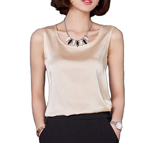 Andopa Damen pure color sling fashional sommer slim fit charmeuse tank top S Champagne -