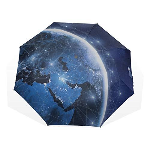 Ombrello da viaggio Il pianeta che viviamo in terra Anti Uv Compact 3 Fold Art Ombrelli pieghevoli leggeri (all'esterno della stampa) Antivento Antipioggia Protezione solare Ombrelli per donne Ragazz