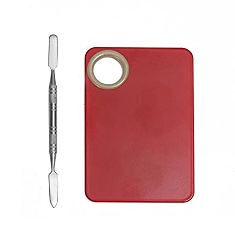 Beauté Top Outil de mélange de fondation de spatule de maquillage de maquillage de maquillage facial en acier inoxydable (Rouge)