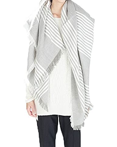 Azue Women Winter Autumn Fashion Plaid Blanket Warm Scarf Big Size Cozy Poncho Soft Fabric Shawl Thick Snow Cape White