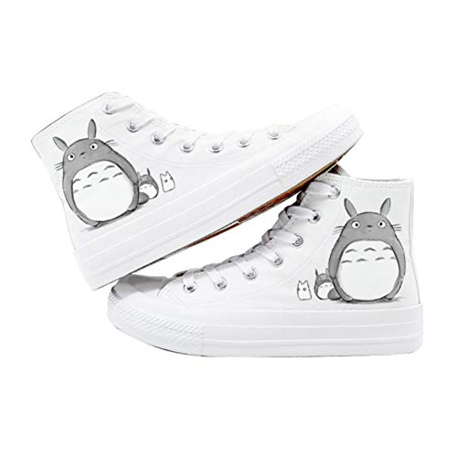 H&Y Anime-Fans My Neighbor Totoro Cosplay Canvas Schuhe Turnschuhe Leuchtend Frauen Männer Casual Flats Espadrilles,Weiß,36
