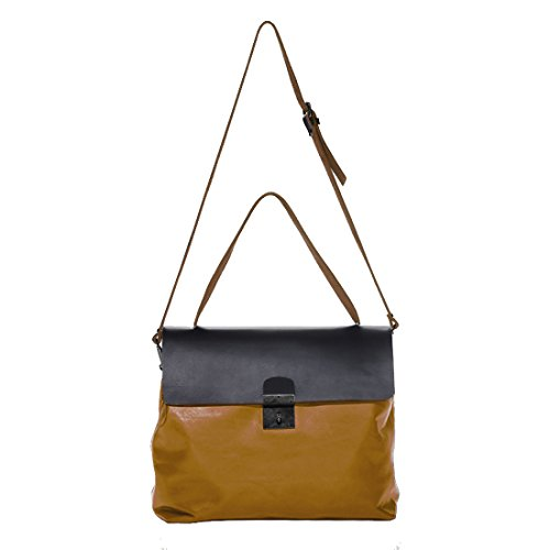 Lisa: borsa a spalla in pelle (giallo - nero- marrone) giallo - nero- marrone