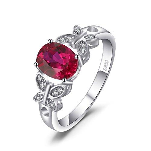 JewelryPalace Papillon 1.8ct Rubis de Synthèse Déclaration Bague en Argent 925