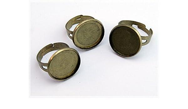 6 Ringrohlinge antik Bronze für 12 mm Cabochon