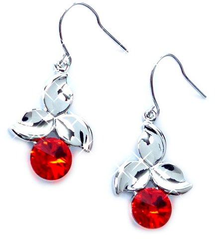 Boucles d'oreilles Swarovski 4579 Argent haenger Boucles d'oreilles Set haut de gamme Hanging Earring Swarovski Stones (Red Cherry)