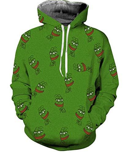 1b39dd2702e6c ISAAC ENGLAND Lovely Pepe Frog Head Retrato Impresión Bolsillo de Manga  Larga Hombres Mujeres Sudadera con