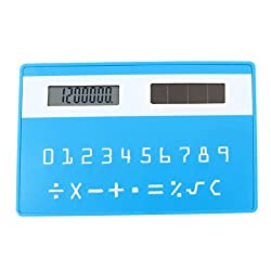 Uxcell Plastic Card Style 8 Digits LCD Pocket Calculator, Teal Blue