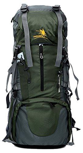 Aur-Green Sac de randonnée extérieur Sac à bandoulière pour homme et femme Sac à dos de 65 litres + 4 litres à grande capacité
