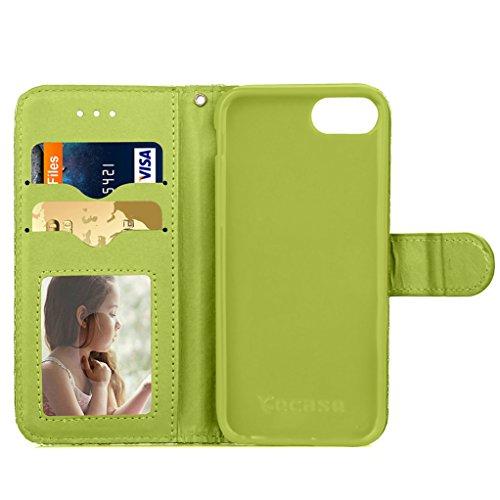 """Trumpshop Smartphone Case Coque Housse Etui de Protection pour Apple iPhone 7 Plus 5.5"""" (Série 3D) + Violet + Ultra Mince Smarphonetcoque Portefeuille PU Cuir Avec Fonction Support Anti-Choc Anti-Rayu Vert"""