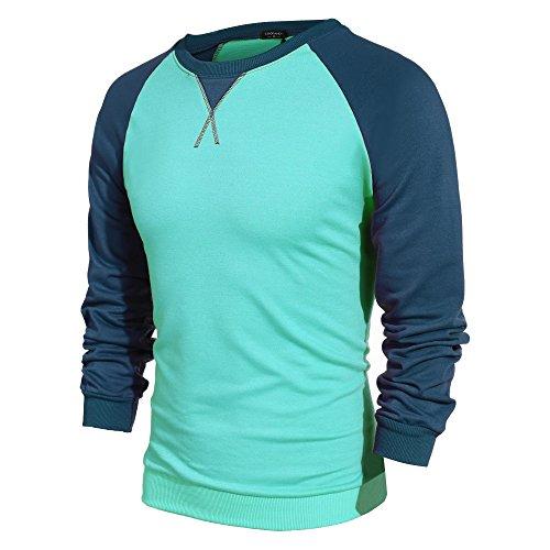 ... Coofandy Herren Langarmshirt Sweatshirt Freizeit Sport Pullover Loose  Fit Knotrastfarben mit 2-Tone Raglan Grün ... 9a7eace1b2