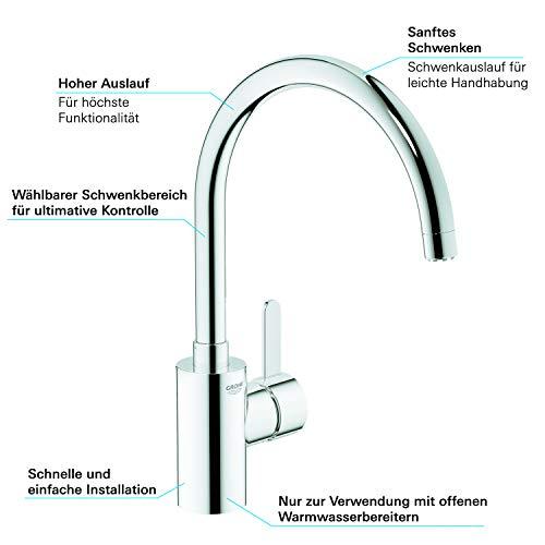 Grohe Eurosmart Cosmopolitan Küchenarmatur (hoher Auslauf, Schwenkbereich wählbar, Niederdruck) 31180000 - 6