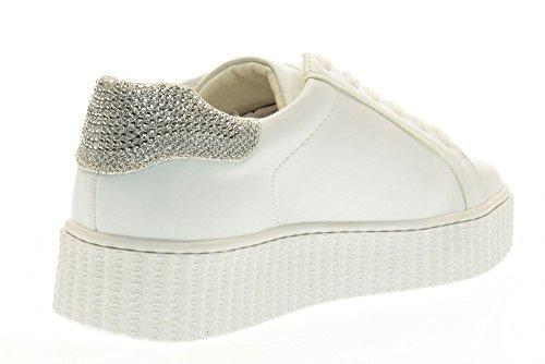 GOLD&GOLD scarpe donna sneakers basse con piattaforma FA103 BIANCO/ARGENTO Bianco-argento