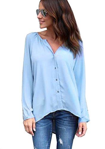 Yidarton Damen Bluse Chiffon Langarm Oberteile Elegante Mode Hemd Asymmetrisch Top (Medium, Casual-himmelblau) (Asymmetrische Tunika)
