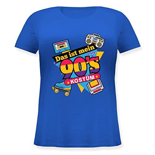 Karneval & Fasching - Das ist Mein 90er Jahre Kostüm - XL (50/52) - Blau - JHK601 - Lockeres Damen-Shirt in großen Größen mit Rundhalsausschnitt