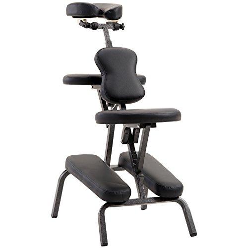 HOMCOM Massage Chair Stool Portable Foldable Therapy Chair for Salon Spa Beauty Tattoo Reiki Swedish Massage - Black