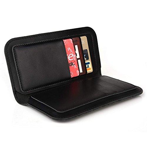 Étui portefeuille en cuir véritable pour ZTE Kis 3Max/Vitesse pour Brun - peau noir - noir