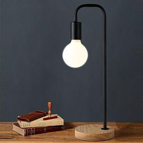 LONFENNE MS -89045 Loft Industrial Vintage Retro Schreibtisch Lampen antike Metall Pole Stand mit 3 W LED-Sockel Sockel Tischleuchte, Lampe im Lieferumfang enthalten (Schwarz), Schwarz - Contemporary Pole