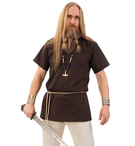 KarnevalsTeufel Tunika edel braun Mittelalter-Kostüm Herren-Outfit Faschings-Hemd ()