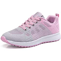 Zapatillas de Deportivos de Running para Mujer Gimnasia Ligero Sneakers Rosa 37