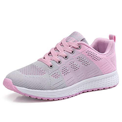 PAMRAY Damen Fitness Laufschuhe Sportschuhe Schnüren Running Sneaker Netz Gym Schuhe Rosa 39