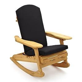 Big Home Shop Bowland Adirondack Chaise à Bascule en Bois + Coussin