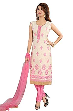 PC Chandan Creation Cotton Jacquard Straight Kameez in Cream